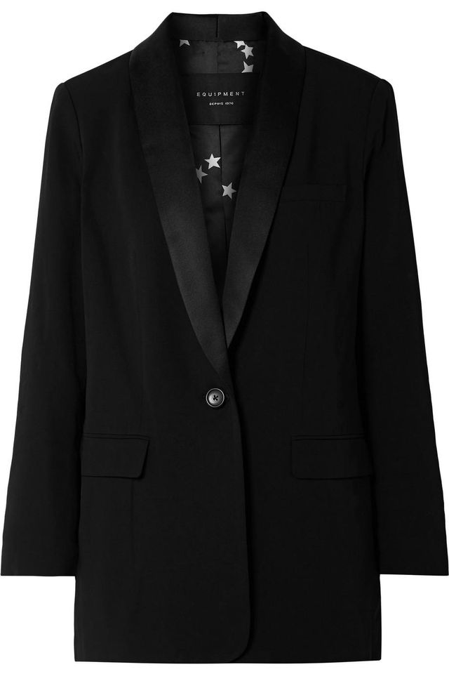 Quincy Satin-Trimmed Crepe Blazer