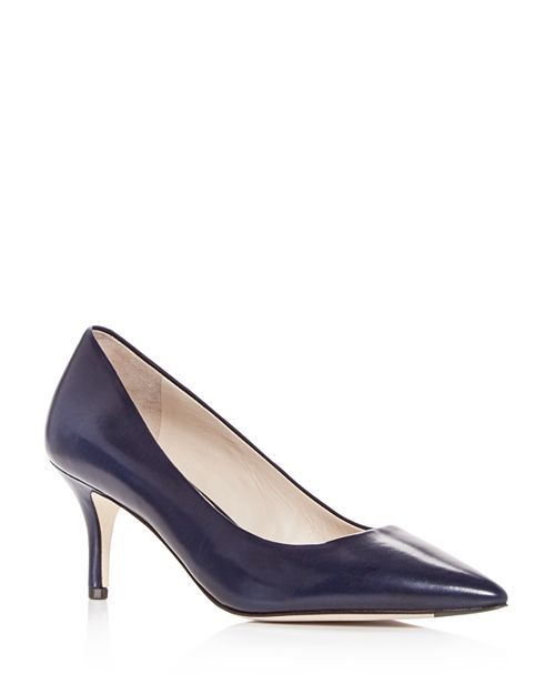 Women's Vesta Leather Pointed Toe Mid-Heel Pumps