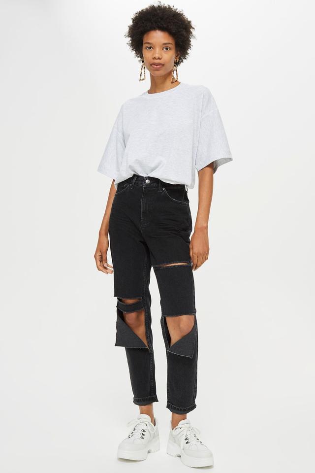Washed Black Slash Ripped Mom Jeans