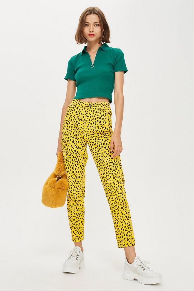 Yellow Leopard Print Mom Jeans
