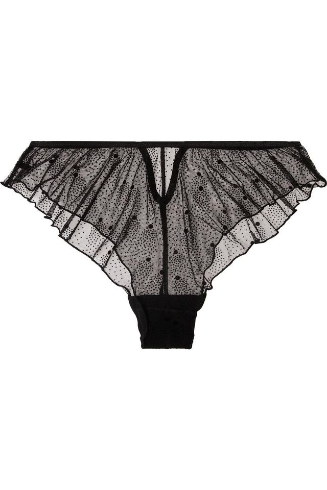 Marine Swiss-dot Tulle Briefs