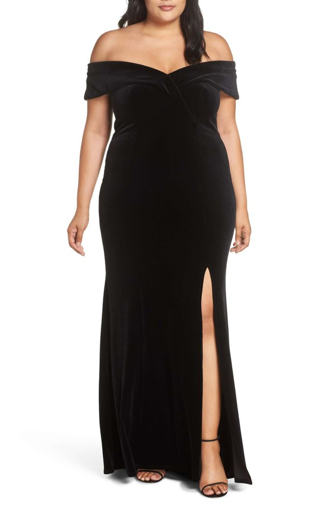 Xscape Off the Shoulder Velvet Gown