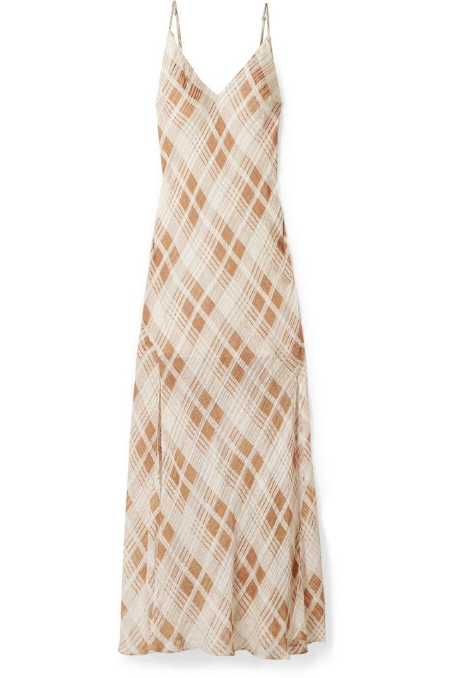 Kate Ruffled Plaid Silk-jacquard Maxi Dress