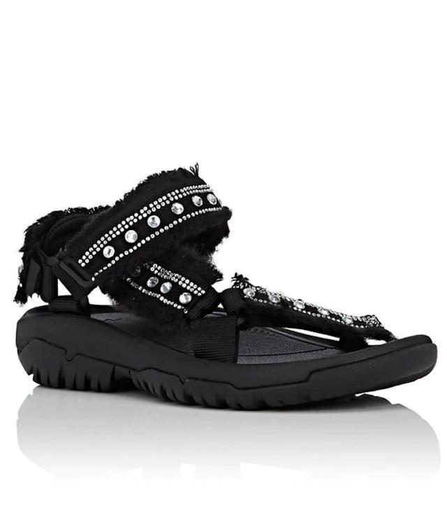 Women's Crystal-Embellished Nylon Sandals-White Size 8
