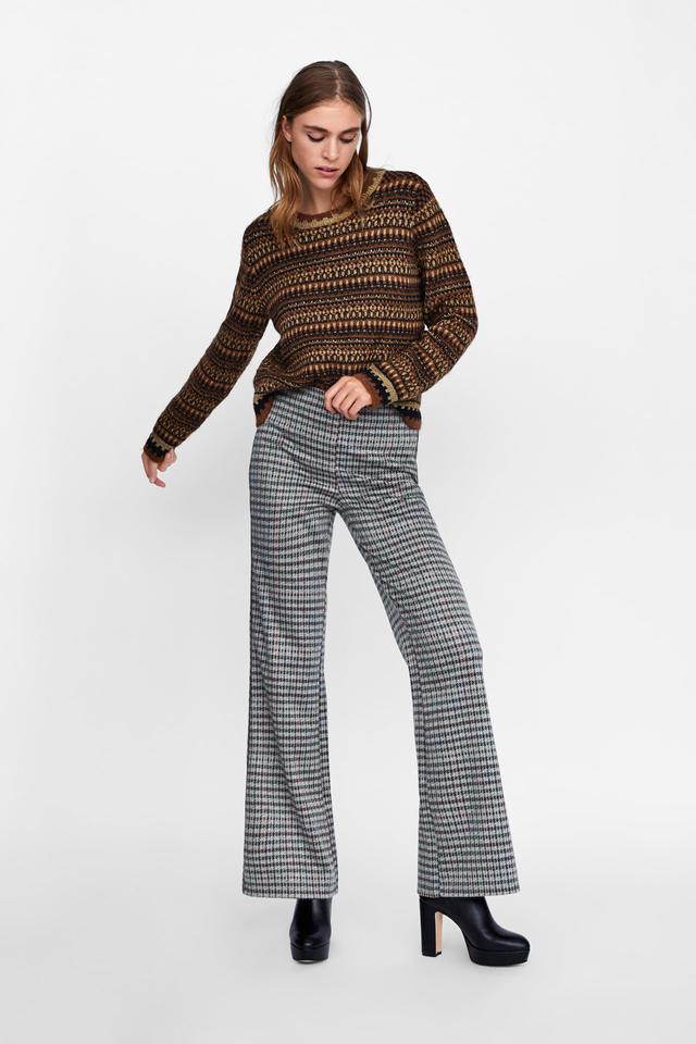 Zara plaid pants outfits