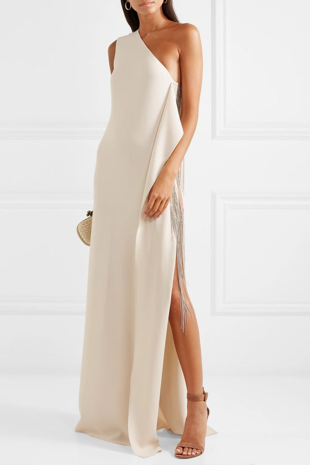 One-shoulder Chain-embellished Stretch-cady Gown