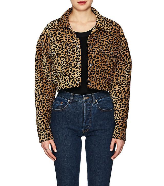 Women's Leopard-Pattern Crop Jacket Size M
