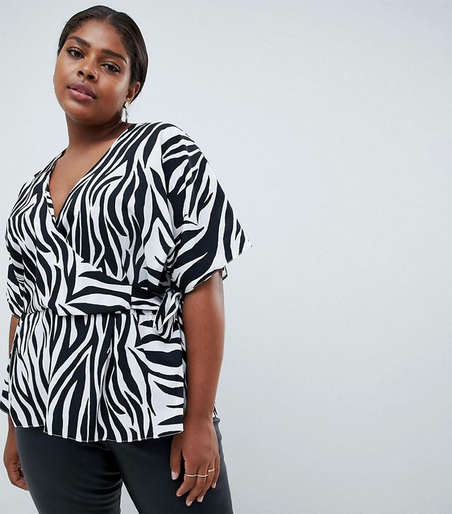 ASOS DESIGN Curve wrap top with kimono sleeve in zebra print