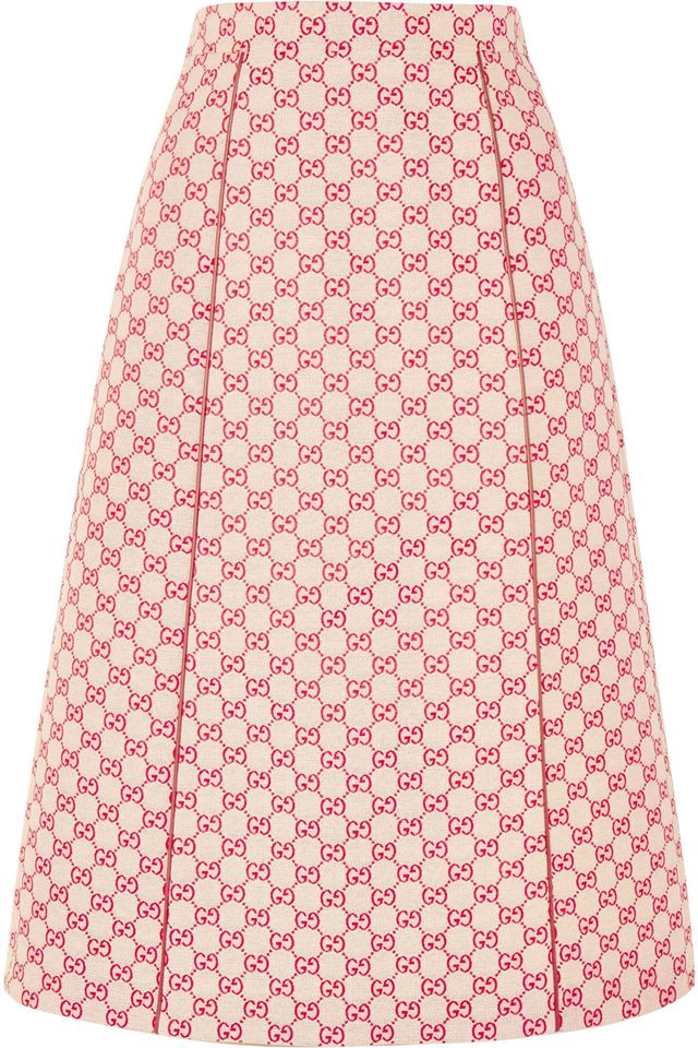 Printed Cotton-blend Canvas Midi Skirt