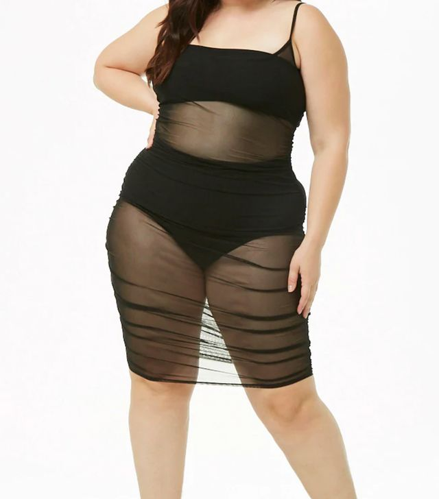 Forever 12 Plus Size Sheer Mesh Ruched Dress