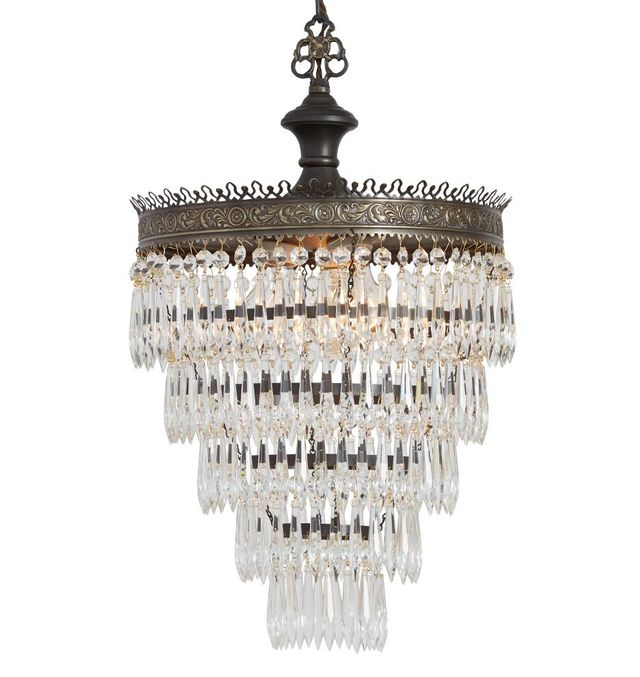 Filigree Brass Five-Tiered Crystal Chandelier