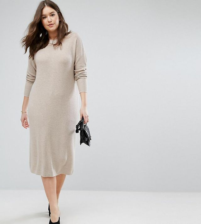 ASOS CURVE ECO Knitted Dress In Super Soft Yarn