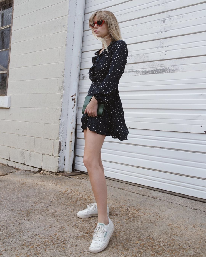 a15420fee1ec 17 It Girl–Approved Fall Dress-With-Sneakers Outfits | Who What Wear