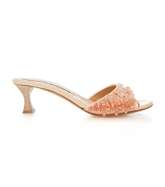 Tabitha Simmons for Brock Collection Embroidered Leather Kitten Heel Slides