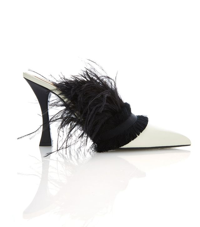 Tabitha Simmons for Brock Collection Calfskin Feather Mules