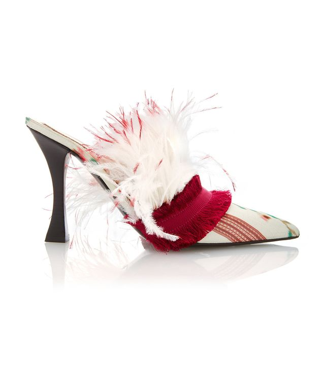 Tabitha Simmons for Brock Collection Silk Feather Mules