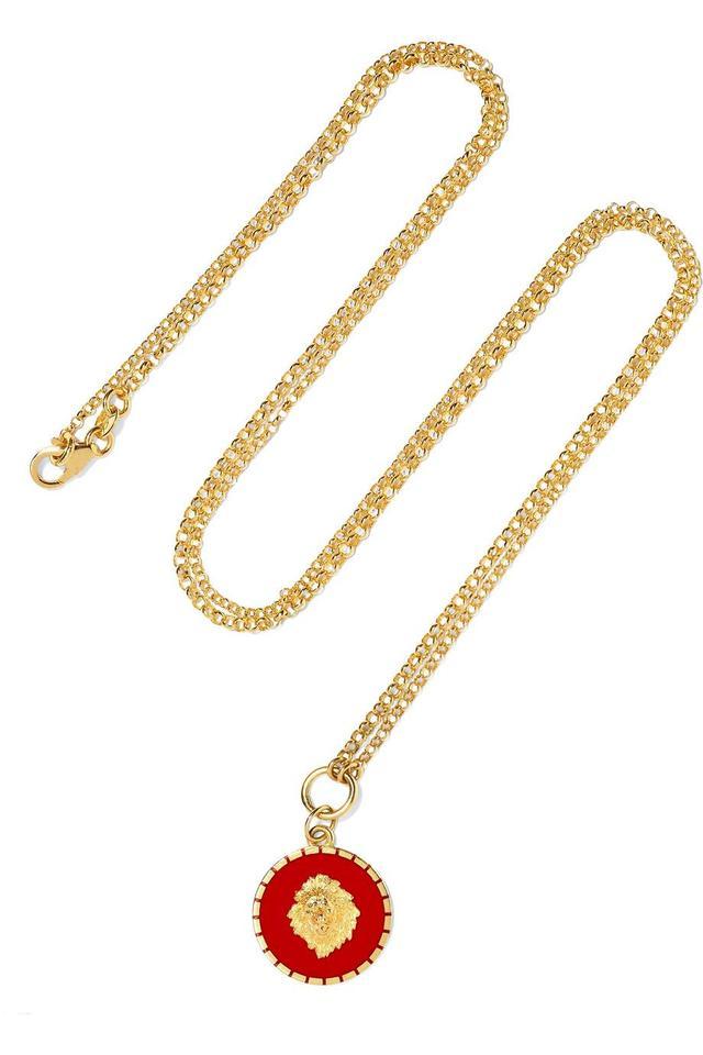 Strength 18-Karat Gold Enamel Necklace