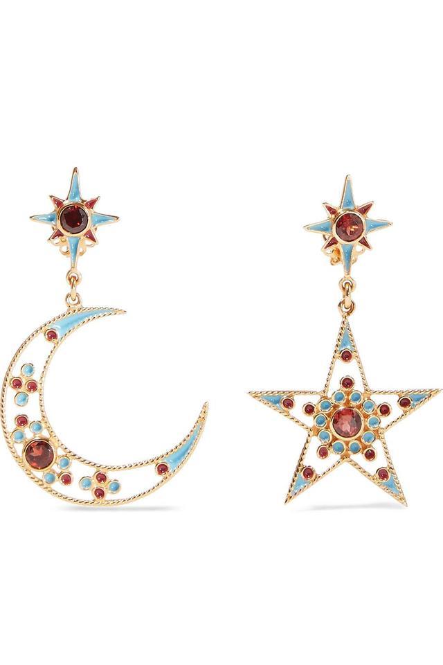 Gold-plated And Enamel Garnet Earrings