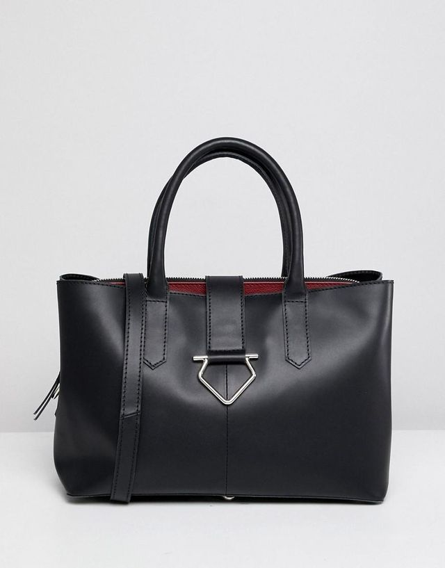 leather soft lock tote bag with tablet compartment