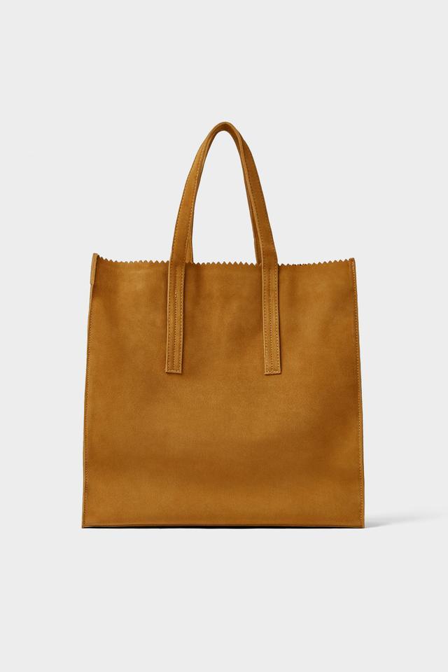 Zara Mustard Yellow Leather Shopper