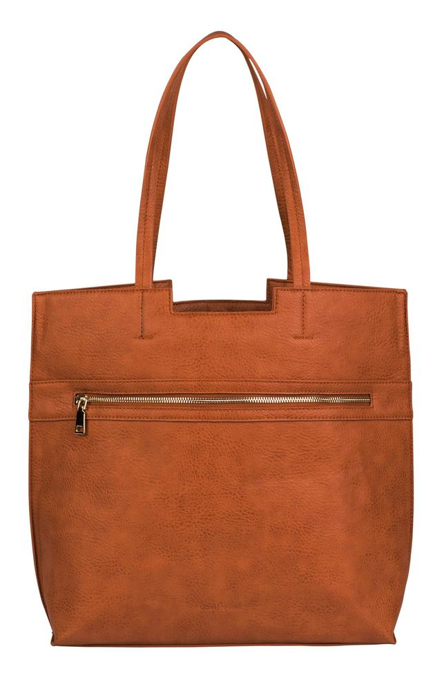 Timeless Vegan Leather Tote - Brown