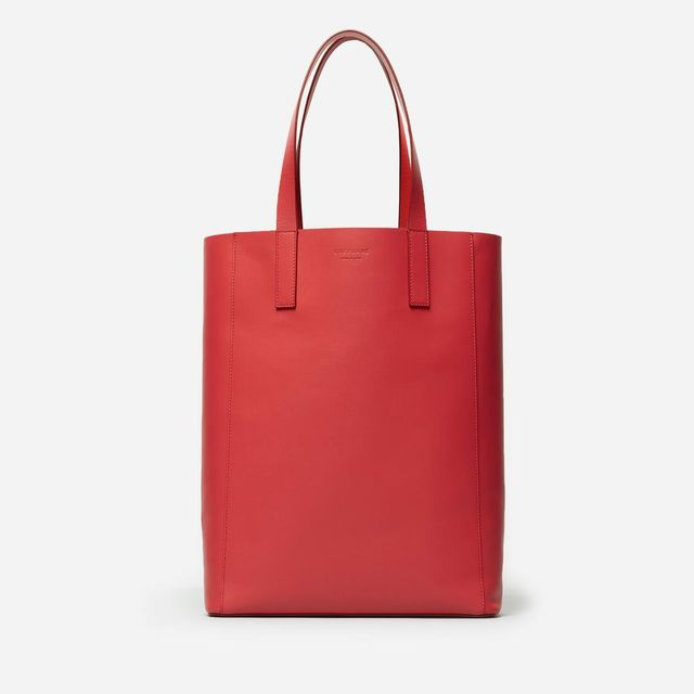 Leather Magazine Tote Bag by Everlane in Red