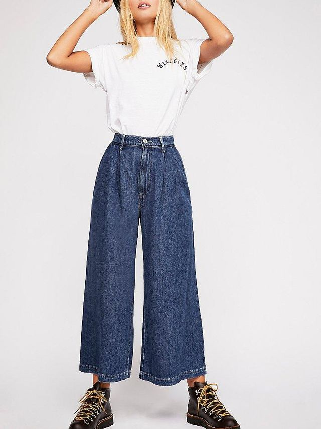 Wide Leg Pleated Jeans at Free People