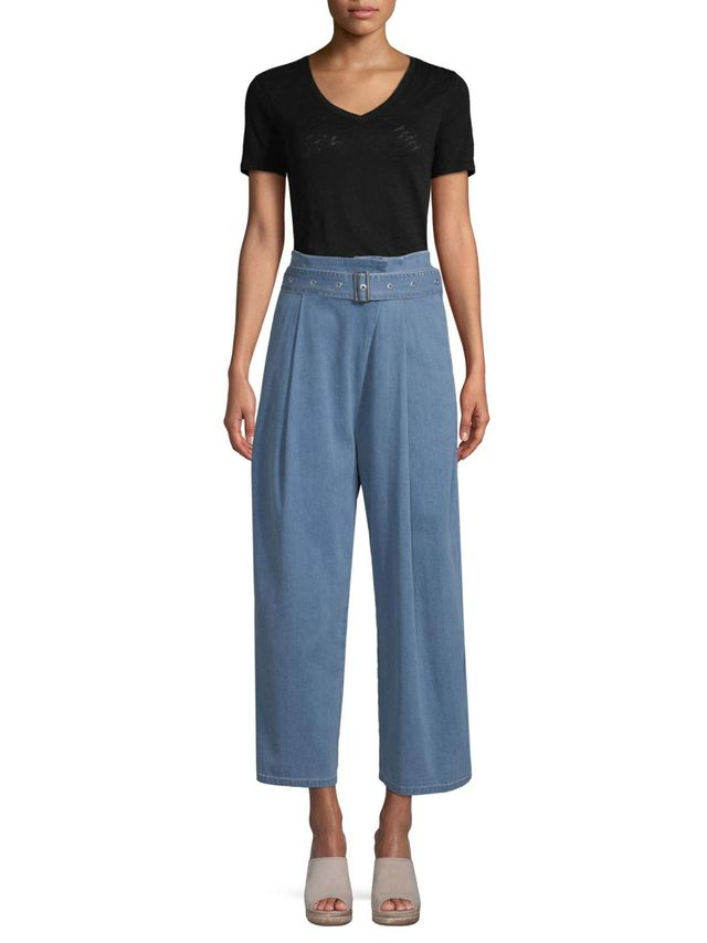 Pleated Wide Leg Belted Jeans