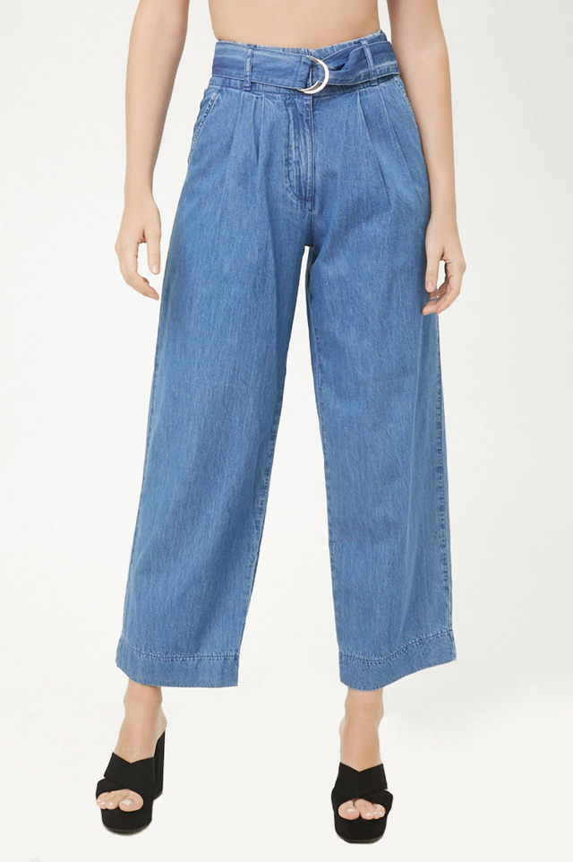 Forever 21 Pleated Wide-Leg Jeans