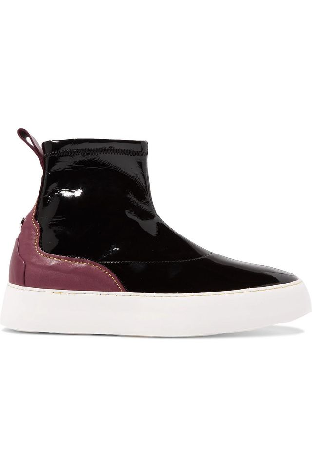 Two-Tone Patent and Matte-Leather High-Top Sneakers