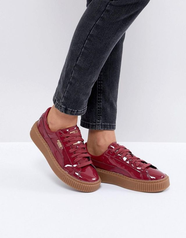Basket Platform Patent Sneaker