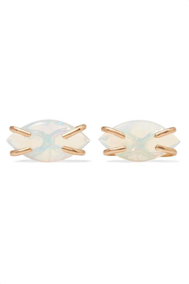 14-Karat Gold Opal Earrings