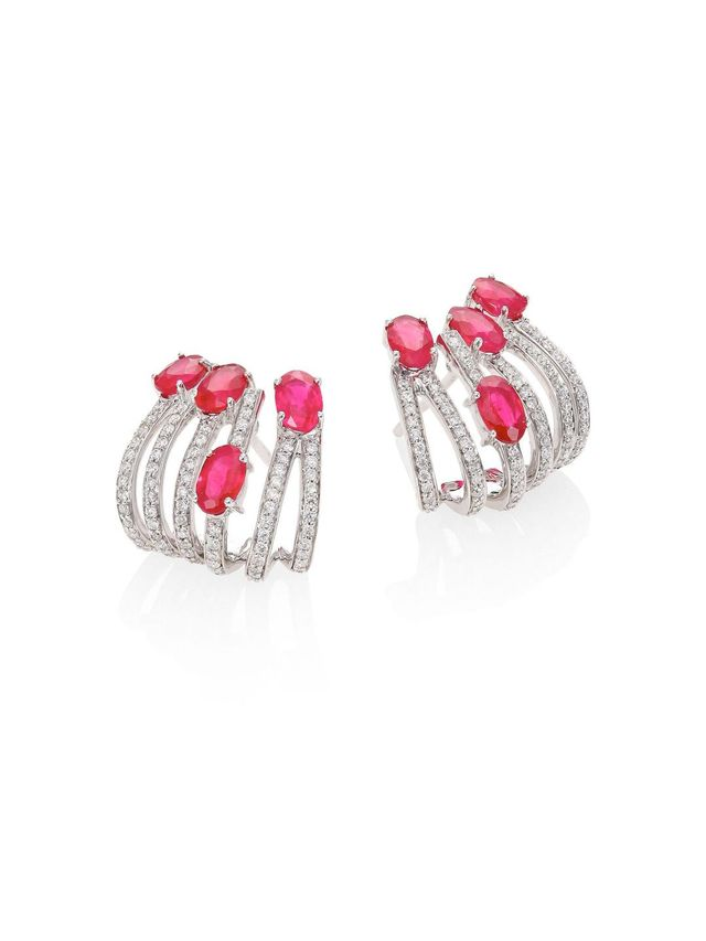 Rainbow Diamond, Ruby & 18K White Gold Ear Cuffs