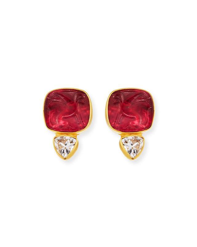Italian Glass & Topaz Stud Earrings