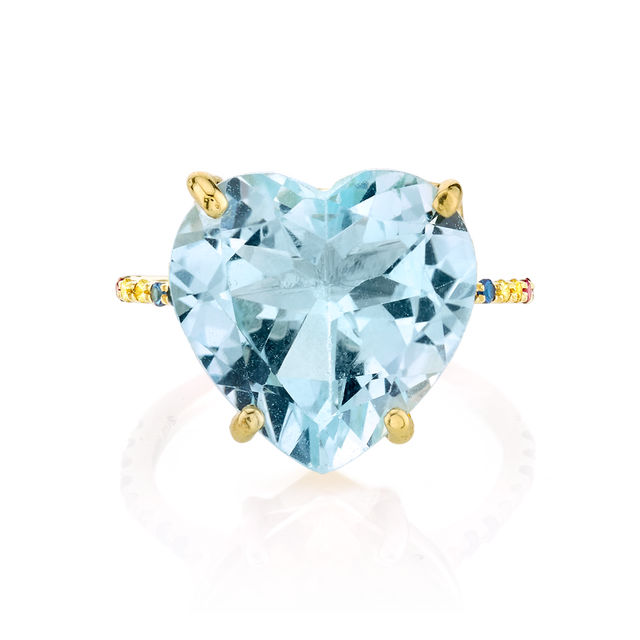 The Last Line Blue Topaz and Rainbow Heart Ring