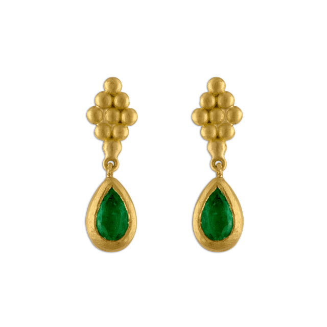 Prounis Jewelry Small Emerald Earrings