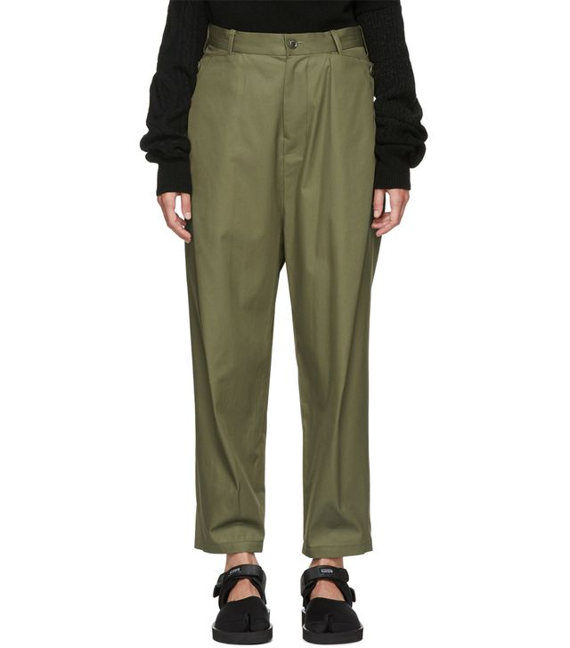 Camilla pleated wide-leg cotton-twill trousers