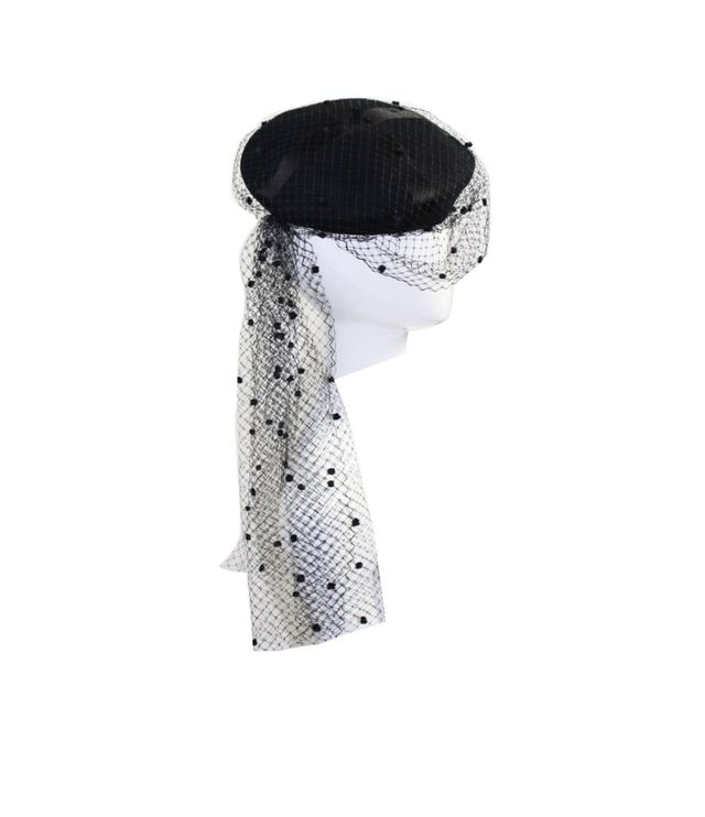 Vintage Chanel Black Wool Beret With Veil