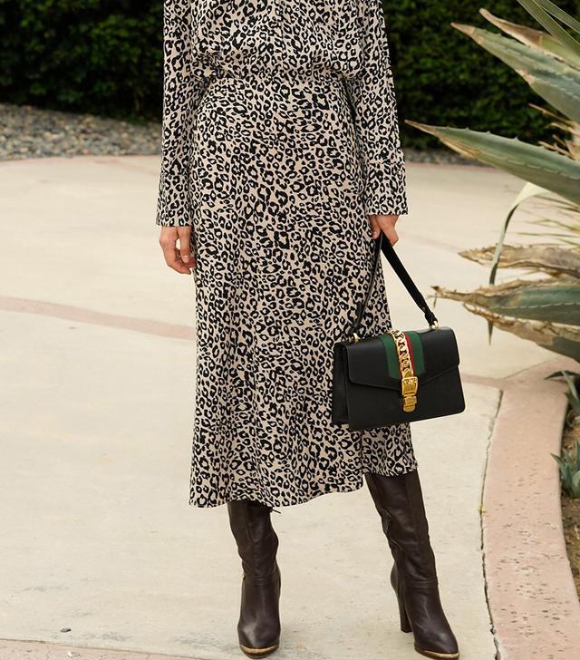 Pixie Market Rene Leopard Silky Midi Skirt