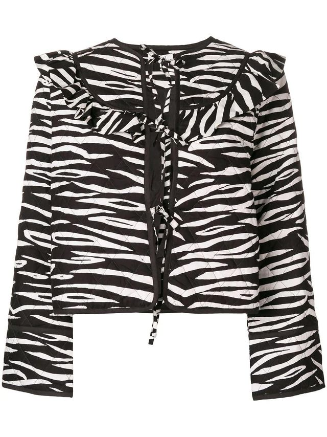 zebra print ruffled jacket