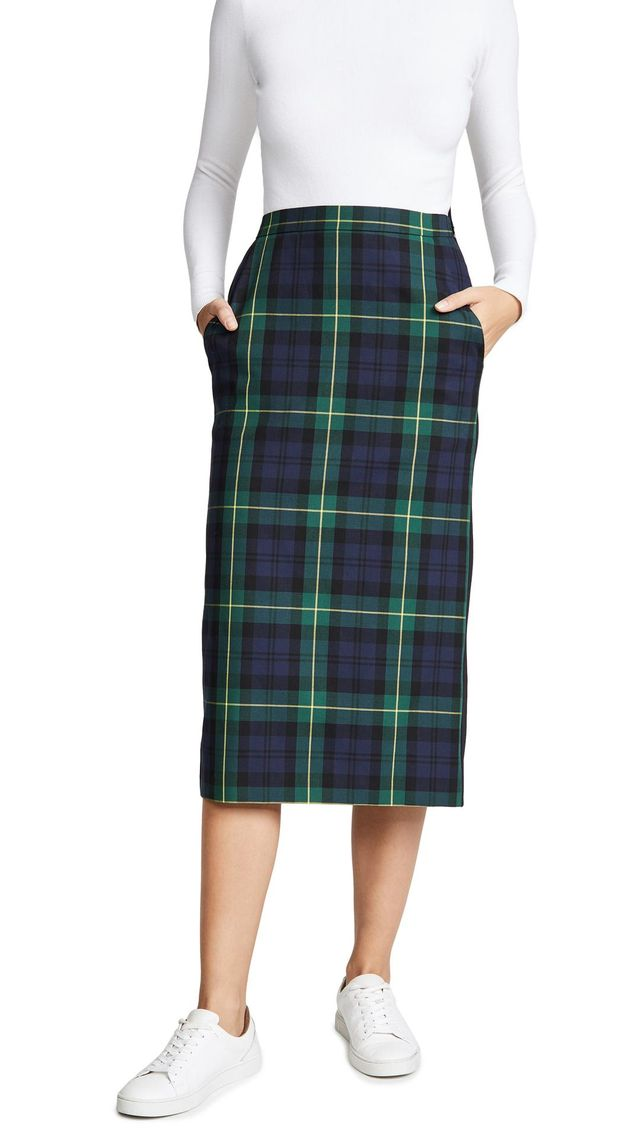 Plaid Combo Midi Skirt