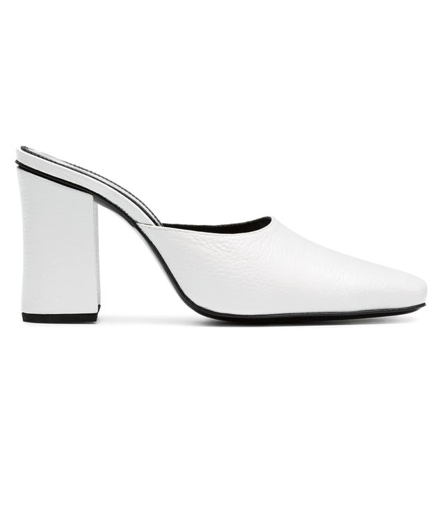 white Mule 90 leather high heel pumps