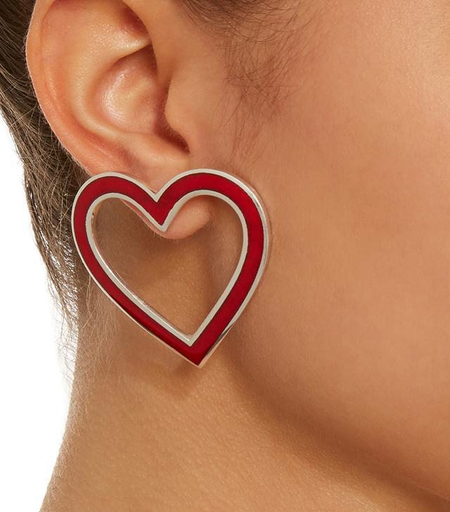 Silver-Tone Enamel Heart Earrings