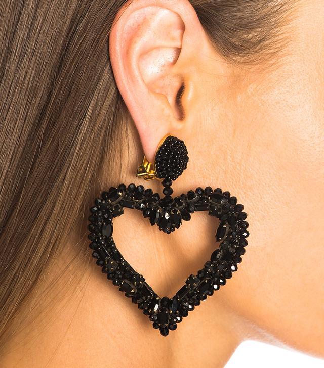 Oscar de la Renta Jeweled Heart Earrings