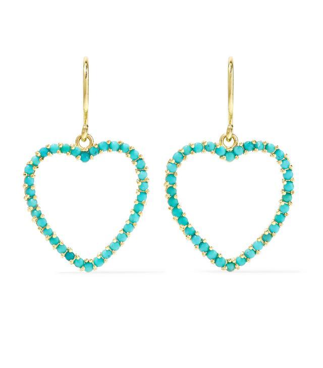 Heart 18-Karat Gold Turquoise Earrings