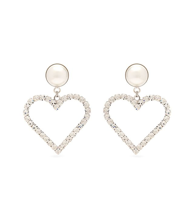 Crystal Embellished Heart Charm Earrings