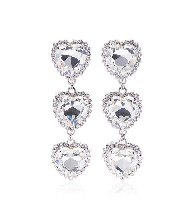 Long Crystal Heart Earrings