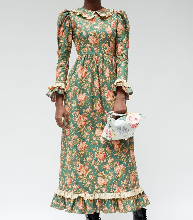 Batsheva Teal Long Prairie Dress
