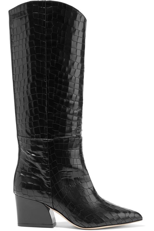 Logan Croc-Effect Leather Knee Boots