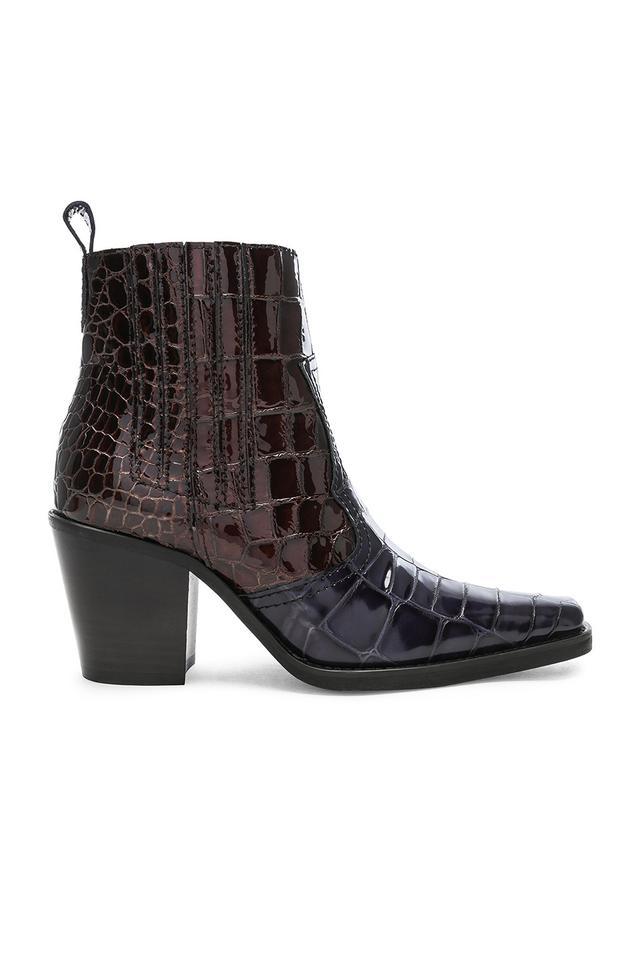Ganni Croc Embossed Callie Boots